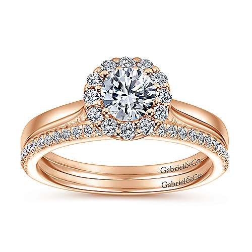 Lana 14k Rose Gold Round Halo Engagement Ring angle 4