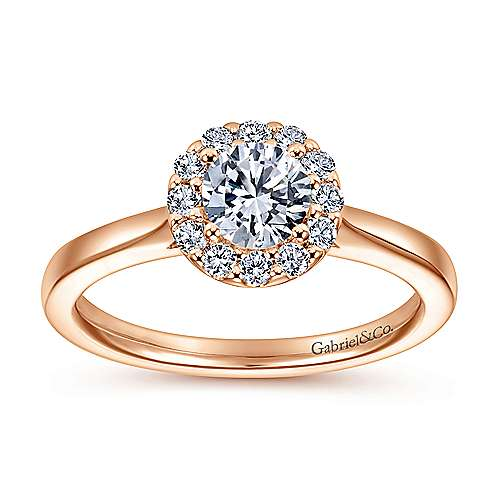 Lana 14k Rose Gold Round Halo Engagement Ring angle 5