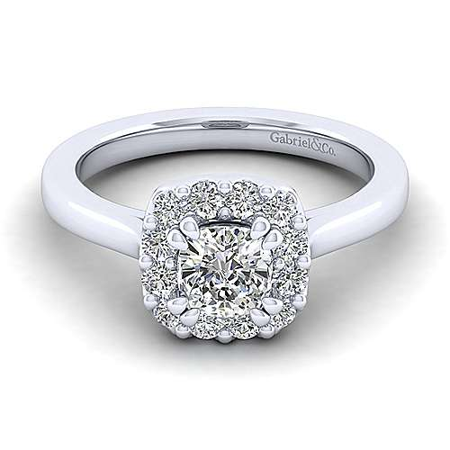 Gabriel - Lana 14k White Gold Cushion Cut Halo Engagement Ring