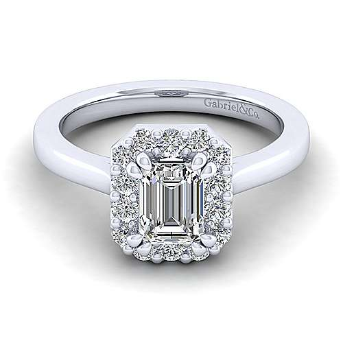 Gabriel - Lana 14k White Gold Emerald Cut Halo Engagement Ring