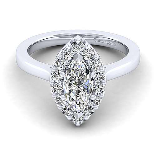 Gabriel - Lana 14k White Gold Marquise  Halo Engagement Ring