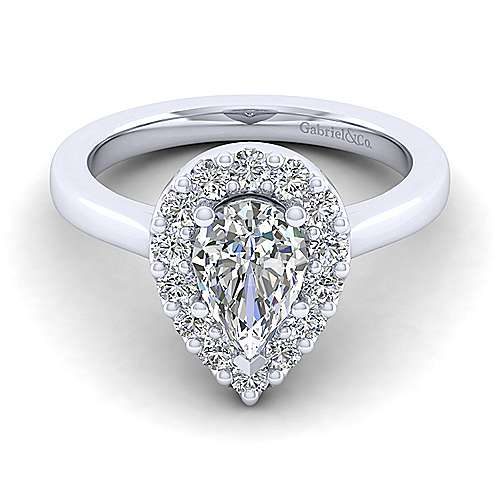 Gabriel - Lana 14k White Gold Pear Shape Halo Engagement Ring