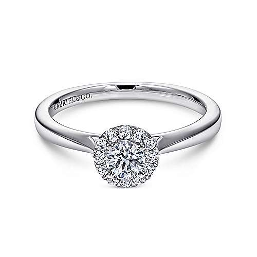 Gabriel - Lana 14k White Gold Round Halo Engagement Ring