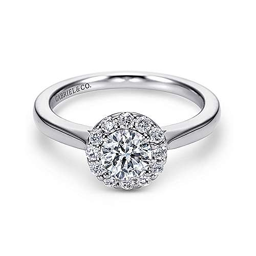 Lana 14k White Gold Round Halo Engagement Ring angle 1