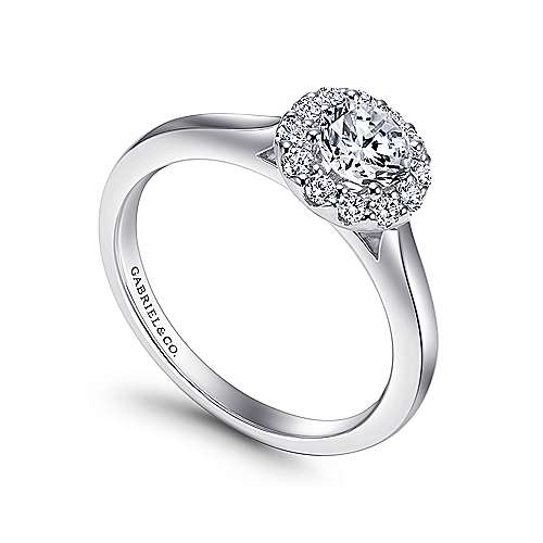 Lana 14k White Gold Round Halo Engagement Ring angle 3