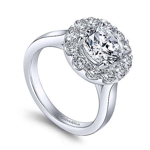 Lana 14k White Gold Round Halo Engagement Ring angle 3