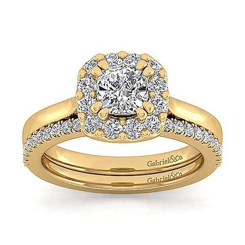 Lana 14k Yellow Gold Cushion Cut Halo Engagement Ring angle 4