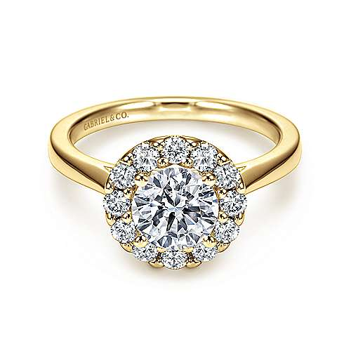 Gabriel - Lana 14k Yellow Gold Round Halo Engagement Ring