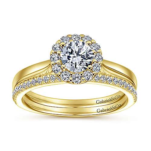 Lana 14k Yellow Gold Round Halo Engagement Ring
