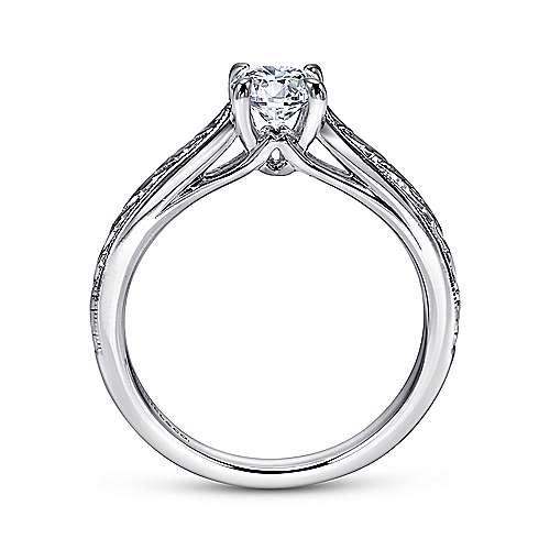 Lapis 14k White Gold Round Straight Engagement Ring angle 2
