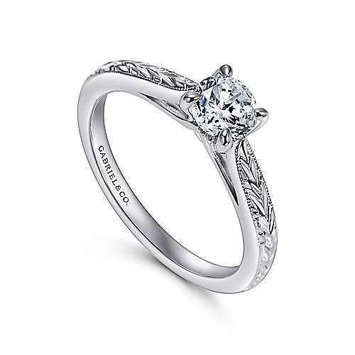 Lapis 14k White Gold Round Straight Engagement Ring angle 3