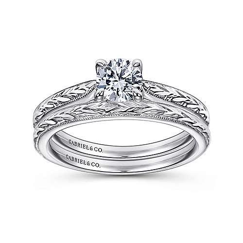 Lapis 14k White Gold Round Straight Engagement Ring angle 4