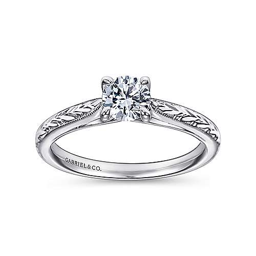Lapis 14k White Gold Round Straight Engagement Ring angle 5