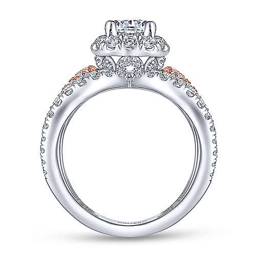 Larissa 18k White And Rose Gold Round Halo Engagement Ring angle 2