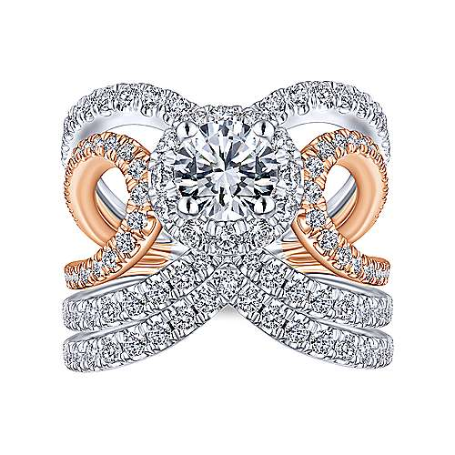 Larissa 18k White And Rose Gold Round Halo Engagement Ring angle 4