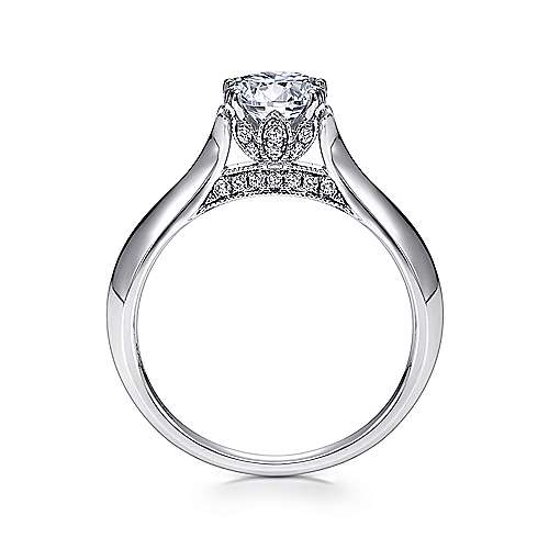 Lark 18k White Gold Round Solitaire Engagement Ring angle 2