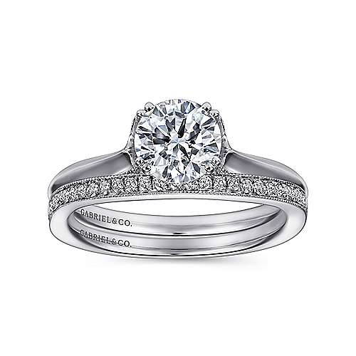 Lark 18k White Gold Round Solitaire Engagement Ring angle 4