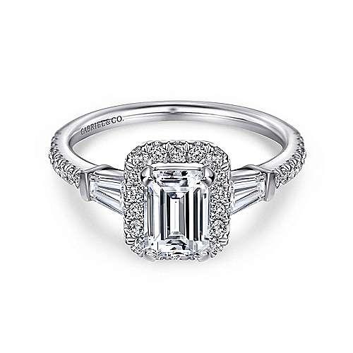 Gabriel - Larkin 14k White Gold Emerald Cut Halo Engagement Ring