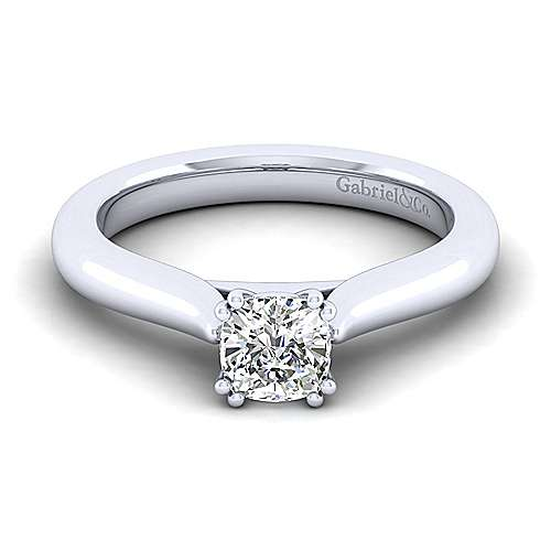 14k White Gold Cushion Cut Solitaire