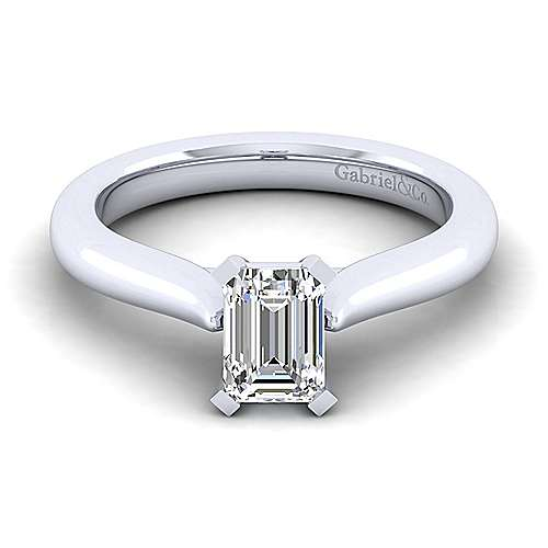 Lauren 14k White Gold Emerald Cut Solitaire Engagement Ring angle 1