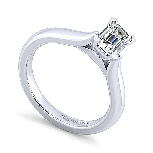 Lauren 14k White Gold Emerald Cut Solitaire Engagement Ring angle 3