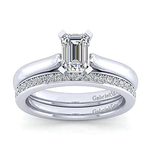 Lauren 14k White Gold Emerald Cut Solitaire Engagement Ring angle 4