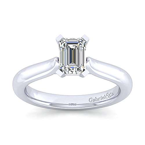 Lauren 14k White Gold Emerald Cut Solitaire Engagement Ring angle 5