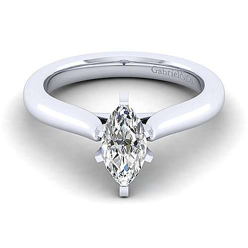 Gabriel - Lauren 14k White Gold Marquise  Solitaire Engagement Ring
