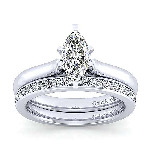 Lauren 14k White Gold Marquise  Solitaire Engagement Ring angle 4