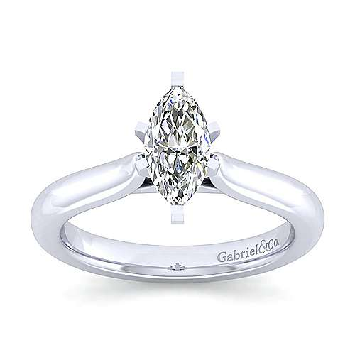 Lauren 14k White Gold Marquise  Solitaire Engagement Ring angle 5