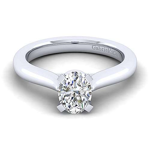 Gabriel - Lauren 14k White Gold Oval Solitaire Engagement Ring