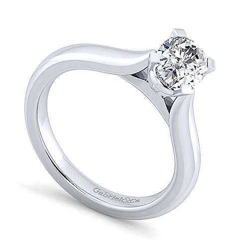 Lauren 14k White Gold Oval Solitaire Engagement Ring angle 3