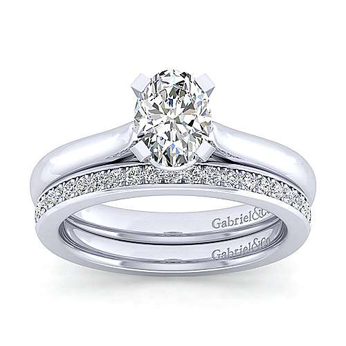 Lauren 14k White Gold Oval Solitaire Engagement Ring angle 4