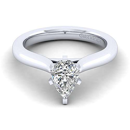 Lauren 14k White Gold Pear Shape Solitaire Engagement Ring angle 1