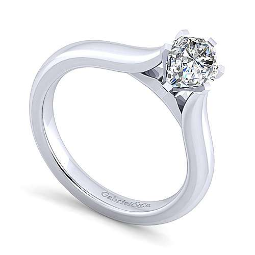 Lauren 14k White Gold Pear Shape Solitaire Engagement Ring angle 3
