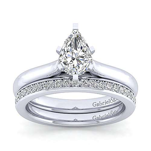 Lauren 14k White Gold Pear Shape Solitaire Engagement Ring angle 4