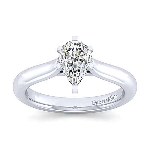 Lauren 14k White Gold Pear Shape Solitaire Engagement Ring angle 5