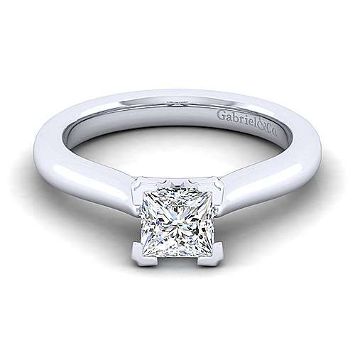 Lauren 14k White Gold Princess Cut Solitaire Engagement Ring angle 1
