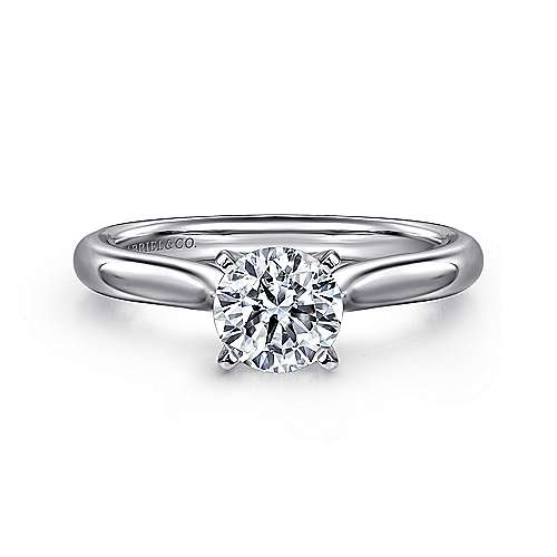 Lauren 14k White Gold Round Solitaire Engagement Ring angle 1