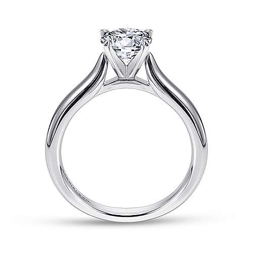 Lauren 14k White Gold Round Solitaire Engagement Ring angle 2