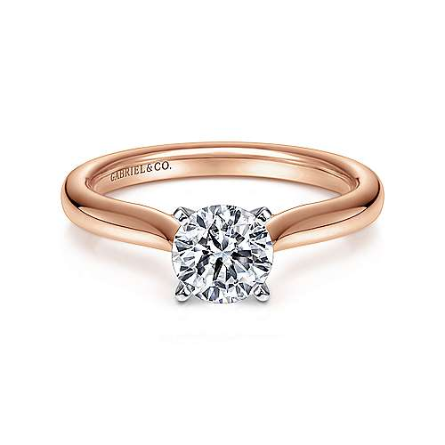 14k White/pink Gold Round Solitaire
