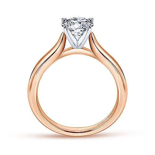 Lauren 14k White/pink Gold Round Solitaire Engagement Ring angle 2