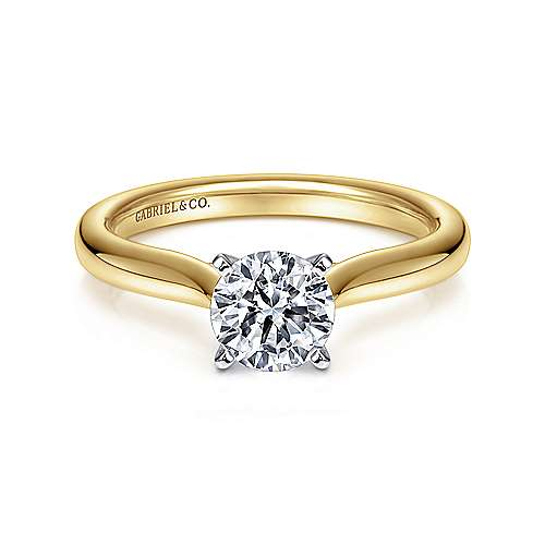 Gabriel - Lauren 14k Yellow And White Gold Round Solitaire Engagement Ring
