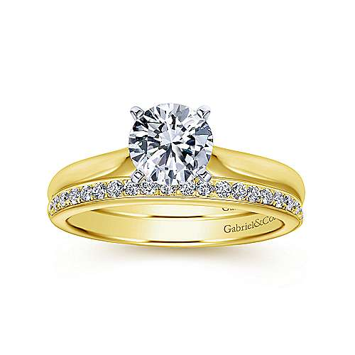 Lauren 14k Yellow/white Gold Round Solitaire Engagement Ring angle 4