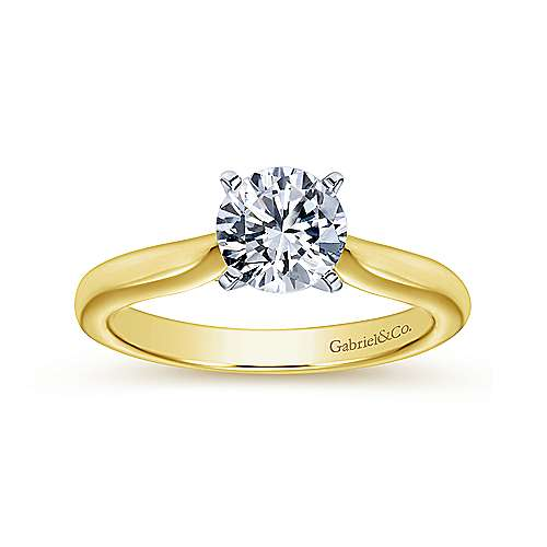 Lauren 14k Yellow/white Gold Round Solitaire Engagement Ring angle 5