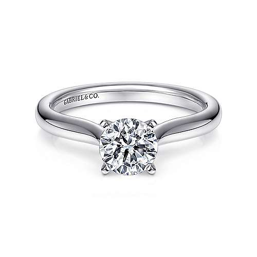 Gabriel - Lauren Platinum Round Solitaire Engagement Ring