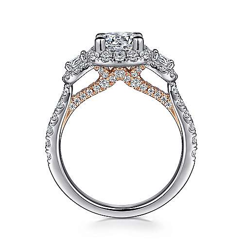 Lavender 14k White And Rose Gold Round Halo Engagement Ring angle 2