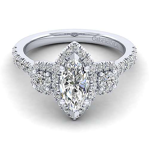 Gabriel - Lavender 14k White Gold Marquise  Halo Engagement Ring