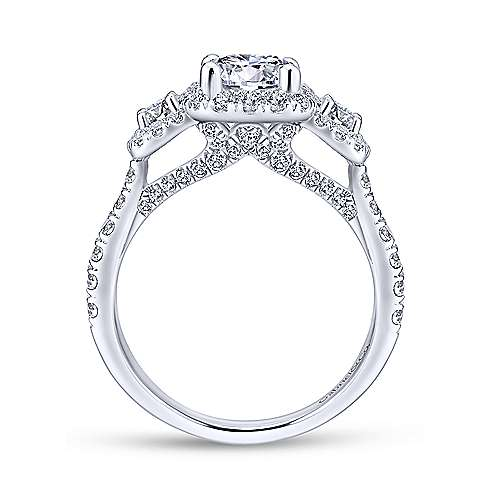 Lavender 14k White Gold Round Halo Engagement Ring angle 2