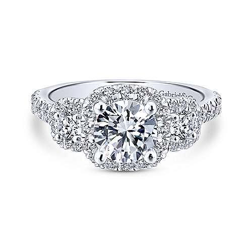 Gabriel - Lavender 18k White Gold Round Halo Engagement Ring